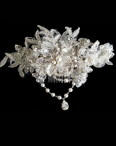 Bridal headpiece - lace vintage look with pearl drapes - Josephine by Kezani - Kezani Jewellery - 3