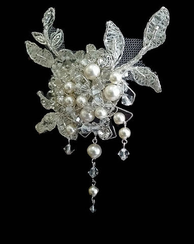 Bridal headpiece - lace and pearl cluster side comb with drops - Sachelle by Kezani - Kezani Jewellery - 1