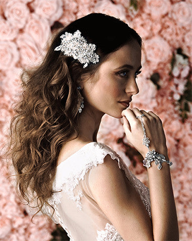 SALE - Bridal headpiece - vintage silver lace with crystals - Florence by Kezani