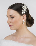 bridal headpiece - floral comb - MIssy Fi by Stephanie Browne - in matt silver