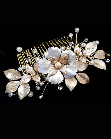 bridal headpiece - Missy Fi comb by Stephanie browne - available at Kezani Jewellery - matt gold