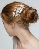 bridal headpiece - Missy Fi comb by Stephanie browne - available at Kezani Jewellery - matt gold in hair