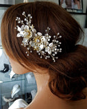 NEW ARRIVAL - bridal headpiece - Silvery gold flower comb - Josie - Johnny B Collection at Kezani