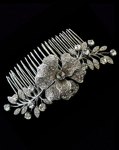 bridal headpiece - Sophia crystal flower art deco comb - by Stephanie browne