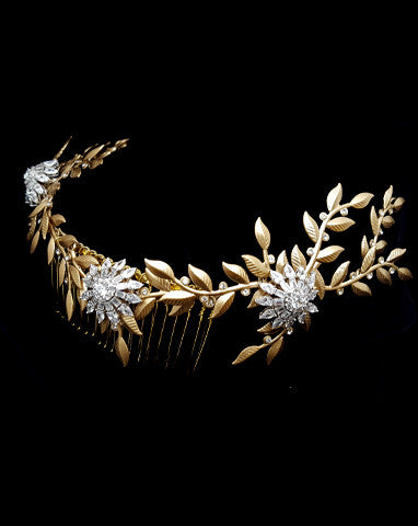 bridal headpiece- stars in my eyes - gold leaf vine - by Stephanie Browne
