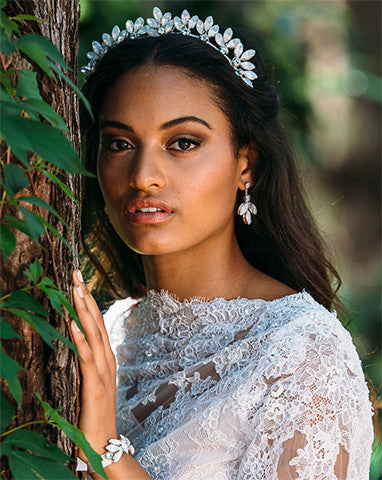 Bridal headpiece - white opal ethereal crown - Xanthe by Kezani - KEZANI JEWELLERY - designer bridal jewellery and wedding accessories