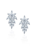 Bridal earring cluster flower studs in rhodium at Kezani