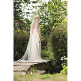 wedding veil - moonshine train length with lace motifs - back view - Kezani Jewellery perth australia