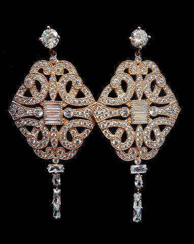 Bridal earrings - Paris Chandelier by Stephanie Browne at Kezani