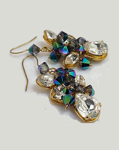 Fashion earrings - peacock crystal - Bold and beautiful by Kezani - INTRODUCTORY OFFER