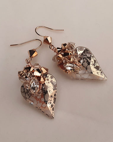 fashion earrings - rose gold heart crystal - Wild Rose earrings - by Kezani