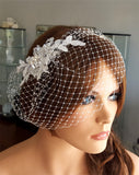 Wedding veil - birdcage veil with small beaded combs - Jasmine - Kezani Jewellery - 4