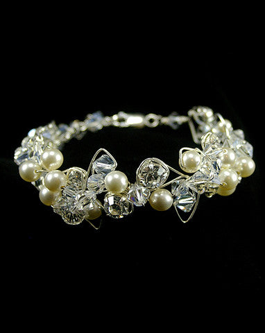 wedding cuff - Avalon pearl and crystal wrap by Kezani