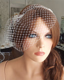Wedding veil - birdcage veil with small beaded combs - Jasmine - Kezani Jewellery - 5
