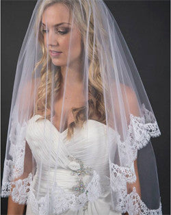 Veil - fingertip length wedding veil with chantilly lace - Erica - Kezani Jewellery