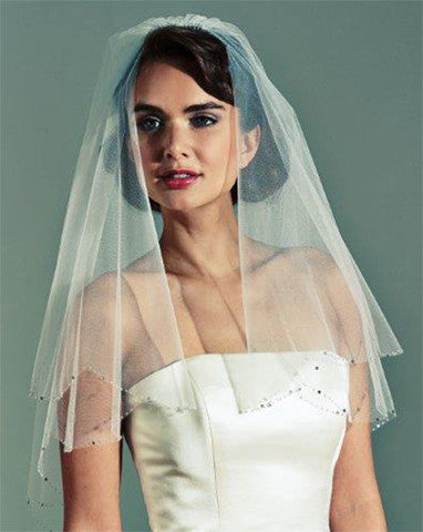 Veil - waist length circular wedding veil with crystal scallop edge - Deri - Kezani Jewellery - 1