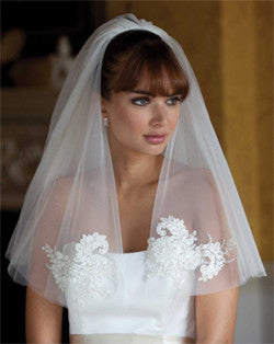 Veil - short length circular cornelli lace wedding veil - Surat - Kezani Jewellery