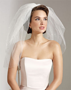 Veil - waist length wedding veil with large crystals and pearls - Camillo - Kezani Jewellery