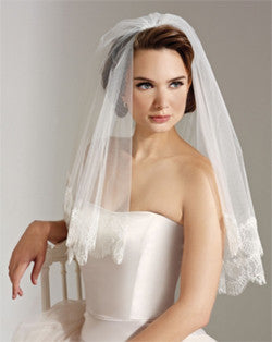 Veil - waist length circular wedding veil with chantilly lace - Skyros - Kezani Jewellery