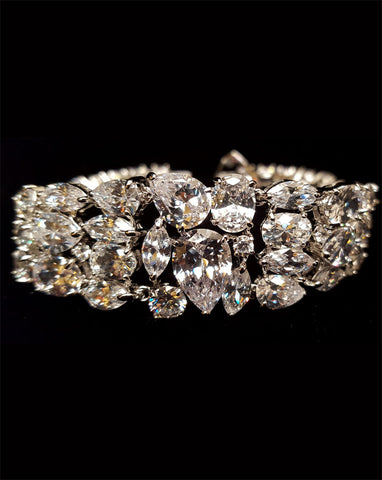 NEW ARRIVAL - Bridal bracelet - Kelly multi shaped crystal bracelet - Exclusive at Kezani