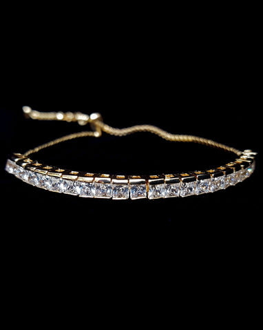 wedding and bridal bracelet - delicate square crystal detail - gold plate - Teli by Johnny B at Kezani