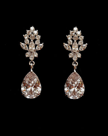 Bridal earrings - elegant crystal stud with classic pear crystal drop - Meghan - Johnny B at Kezani