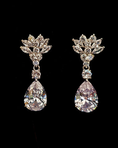 Bridal earrings - navette crystal with classic pear crystal drop - Mina - Johnny B at Kezani