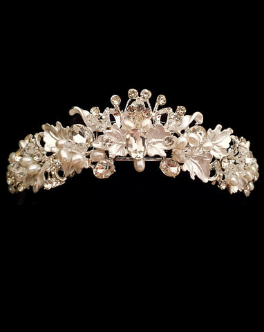 NEW ARRIVAL - wedding and bridal headpiece - silver leaf crown - Joie by Johnny B Collection at Kezani