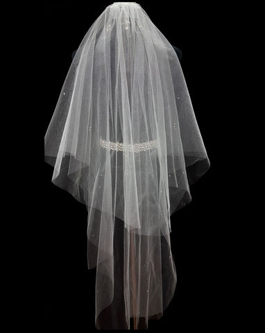 Bridal and wedding Veil  - two tier raw cut glimmer tulle with scatter diamonte in fingertip length -back view -- at Kezani