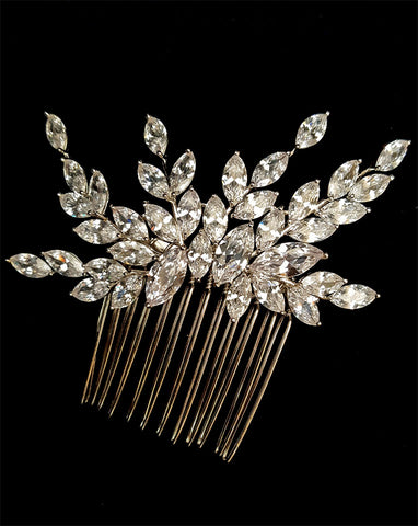 bridal and formal headpiece - flower cascade marquise crystal branch side comb at Kezani