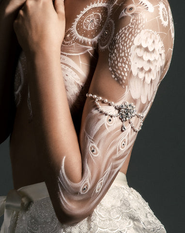 wedding armband - pretty Eloise pearl drape by Kezani - KEZANI JEWELLERY - designer bridal jewellery and wedding accessories - 1
