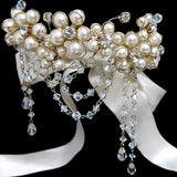 wedding armband - Fleur pearl flower with crystal drapes by Kezani - KEZANI JEWELLERY - designer bridal jewellery and wedding accessories - 2