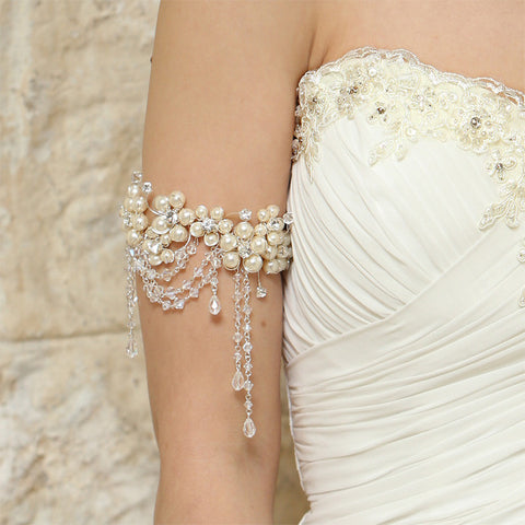 wedding armband - Fleur pearl flower with crystal drapes by Kezani - KEZANI JEWELLERY - designer bridal jewellery and wedding accessories - 1