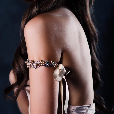 wedding armband - Juliet gold pearl by Kezani - KEZANI JEWELLERY - designer bridal jewellery and wedding accessories - 1