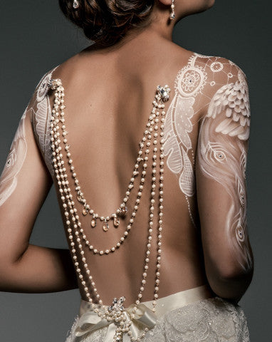 Wedding back jewellery - pearl drapes with vintage silver drops - Josephine by Kezani