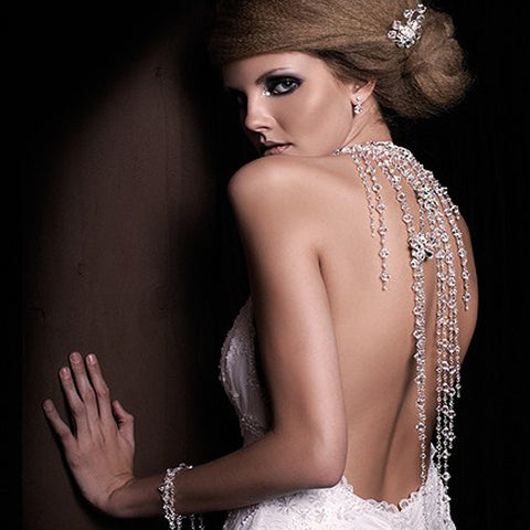 Wedding back necklace - crystals cascading - Falling Stars by Kezani - Kezani Jewellery - 1