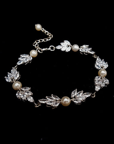 Bridal bracelet- Bocheron pearl and crystal leaf bracelet by Stephanie Browne