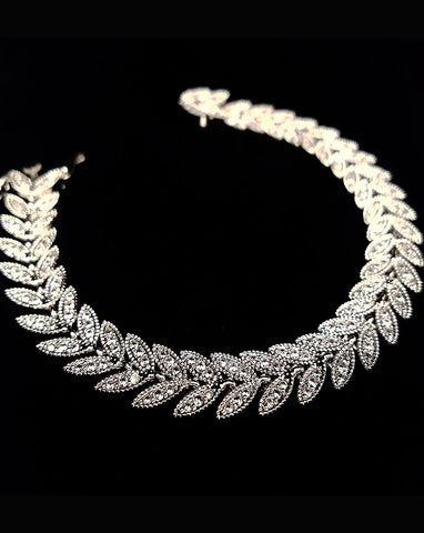 Bridal bracelet- Muse vintage leaf bracelet - by Stephanie Browne
