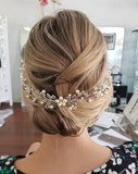 wedding hairvine for bride - pearl and vintage leaf - Laila - by Kezani Jewellery - wearing symmetrical