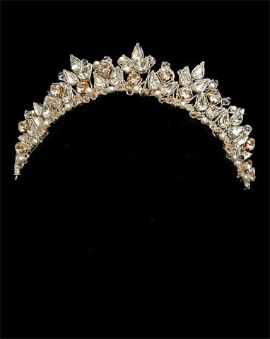 Wedding crown - dainty crystal with touch of rose gold - Bella Crown by Kezani