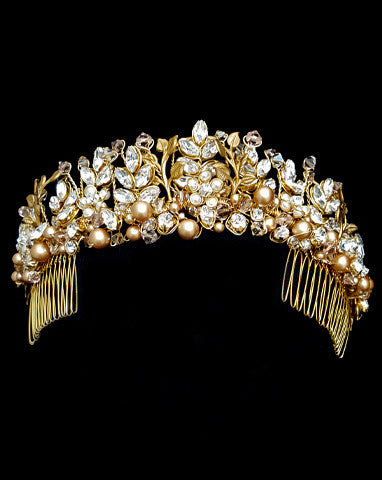Wedding crown - regal gilt and crystal leaf - Diva Crown by Kezani - KEZANI JEWELLERY - designer bridal jewellery and wedding accessories - 1
