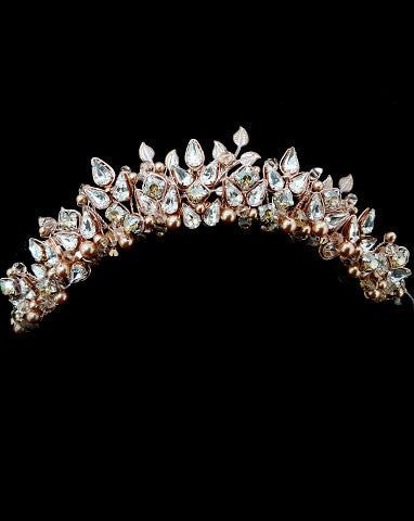 Wedding crown rich rose gold pearl crystal and leaf headpiece wedding crown rose gold pearl crystal and leaf xena by kezani junglespirit Images