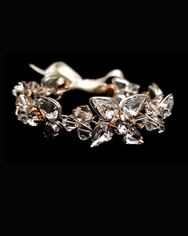 wedding crystal cuff - silver with touch of rose gold - Bella by Kezani