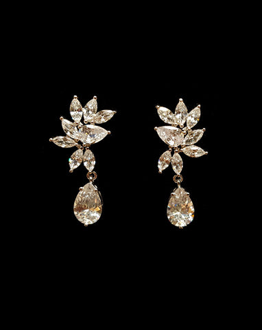 wedding and bridal earings - marquise crystal cluster stud with small pear drop - Twilight drop earring by Stephanie browne at Kezani