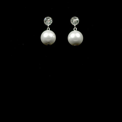 Bridal earrings - 10mm round pearl drop - Tiffany by Kezani - Kezani Jewellery