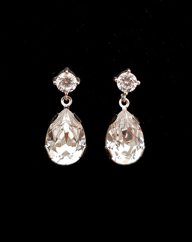 wedding earrings for bride - pear crystal drop - Ava by Kezani Jewellery
