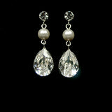 Bridal earrings - pearl with pear crystal drop - Josephine by Kezani - Kezani Jewellery - 1