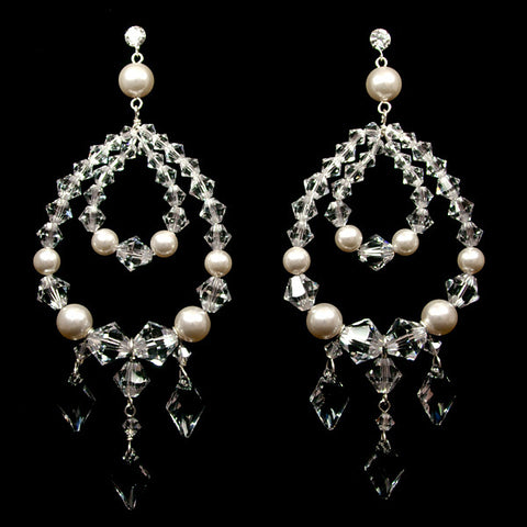 Bridal earrings - pearl and crystal gypsy style - Gracie by Kezani - Kezani Jewellery - 1