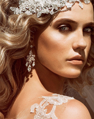 Bridal earrings - soft crystal chandelier - Mahala by Kezani