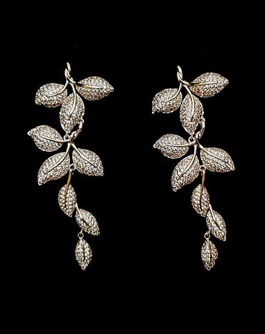 NEW ARRIVAL - wedding earrings - trailing pave leaf boho - Jana by Johnny B at Kezani